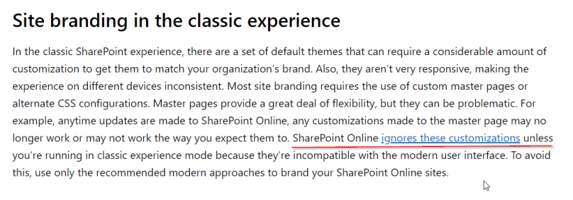 Description of Site Branding in Classic Experience in SharePoint online