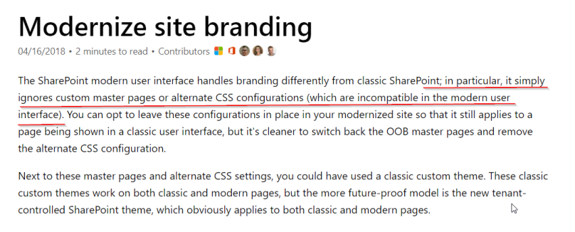 Description on modernize site branding